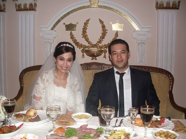 Aziza and Ulug'bek on their wedding day